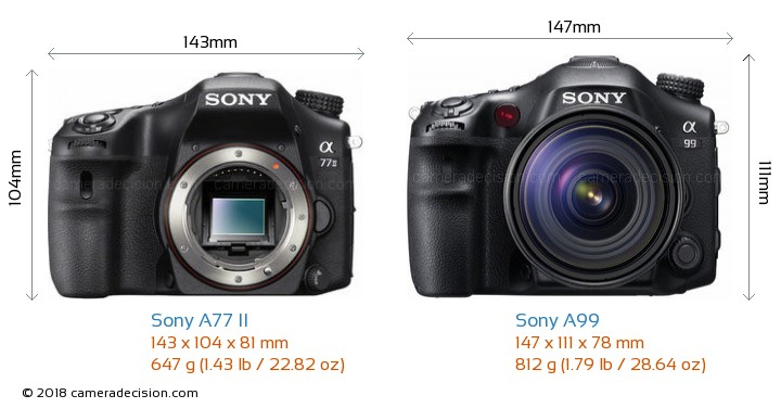 Sony A77 II vs Sony A99 Camera Size Comparison - Front View