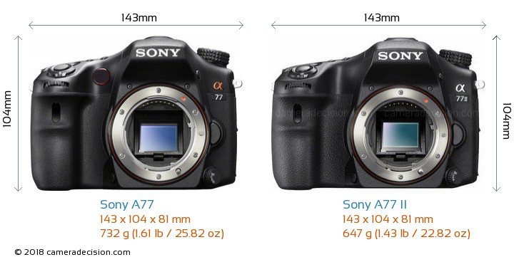 Sony A77 vs Sony A77 II Camera Size Comparison - Front View