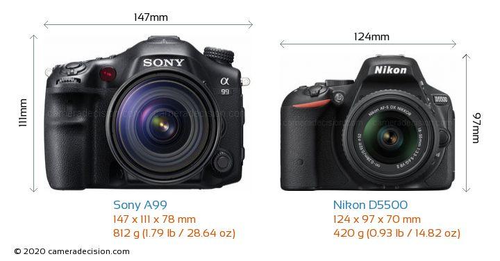 Sony A99 vs Nikon D5500 Camera Size Comparison - Front View