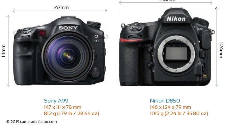 Sony A99 vs Nikon D850 Camera Size Comparison - Front View