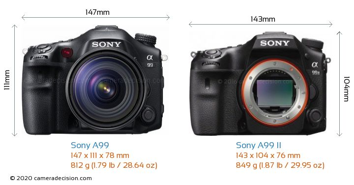 Sony A99 vs Sony A99 II Camera Size Comparison - Front View