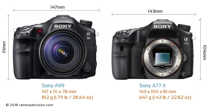 Sony A99 vs Sony A77 II Camera Size Comparison - Front View