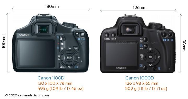 Canon 1100D vs Canon 1000D Camera Size Comparison - Back View
