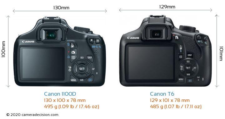Canon 1100D vs Canon T6 Camera Size Comparison - Back View