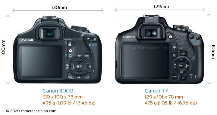 Canon 1100D vs Canon T7 Camera Size Comparison - Back View