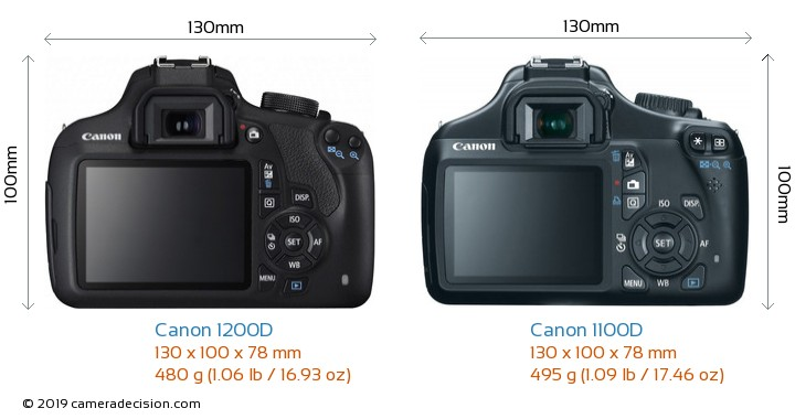 Canon 1200D vs Canon 1100D Camera Size Comparison - Back View