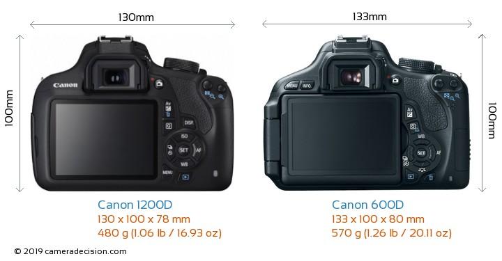 Canon 1200D vs Canon 600D Camera Size Comparison - Back View