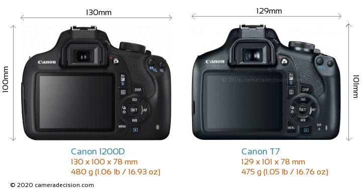 Canon 1200D vs Canon T7 Camera Size Comparison - Back View