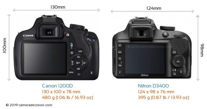 Canon 1200D vs Nikon D3400 Camera Size Comparison - Back View
