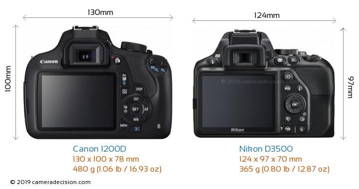 Canon 1200D vs Nikon D3500 Camera Size Comparison - Back View