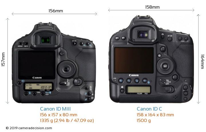 Canon 1D MIII vs Canon 1D C Camera Size Comparison - Back View
