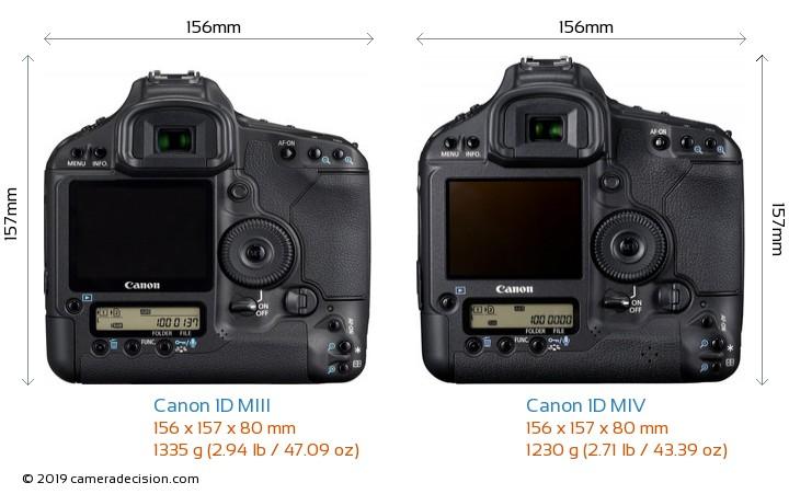 Canon 1D MIII vs Canon 1D MIV Camera Size Comparison - Back View