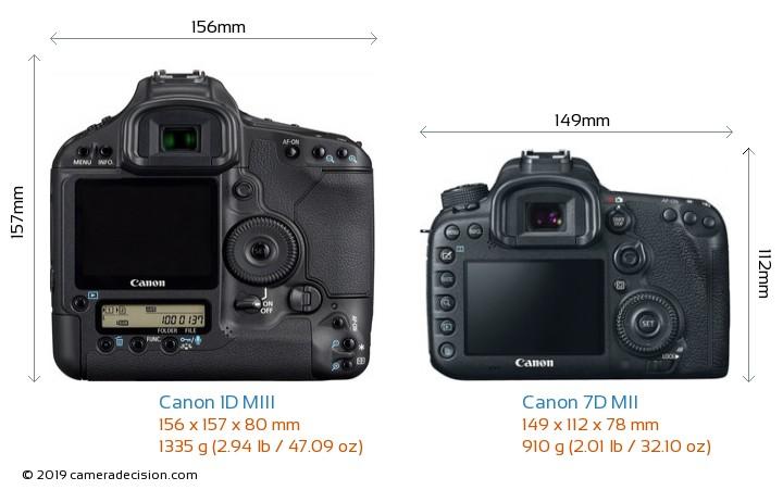 Canon 1D MIII vs Canon 7D MII Camera Size Comparison - Back View