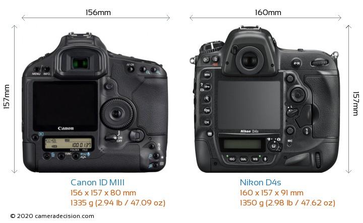 Canon 1D MIII vs Nikon D4s Camera Size Comparison - Back View
