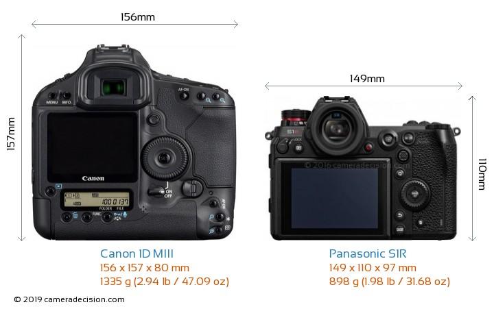 Canon 1D MIII vs Panasonic S1R Camera Size Comparison - Back View