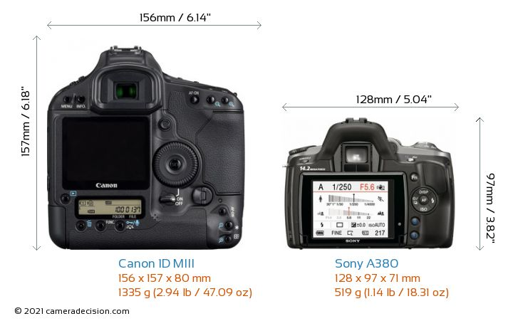 Canon 1D MIII vs Sony A380 Camera Size Comparison - Back View