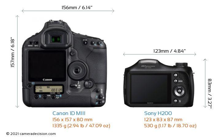 Canon 1D MIII vs Sony H200 Camera Size Comparison - Back View