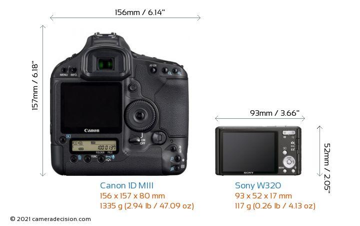 Canon 1D MIII vs Sony W320 Camera Size Comparison - Back View