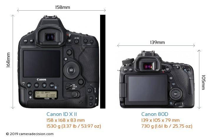 Canon 1D X II vs Canon 80D Camera Size Comparison - Back View