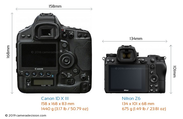 Canon 1D X III vs Nikon Z6 Camera Size Comparison - Back View