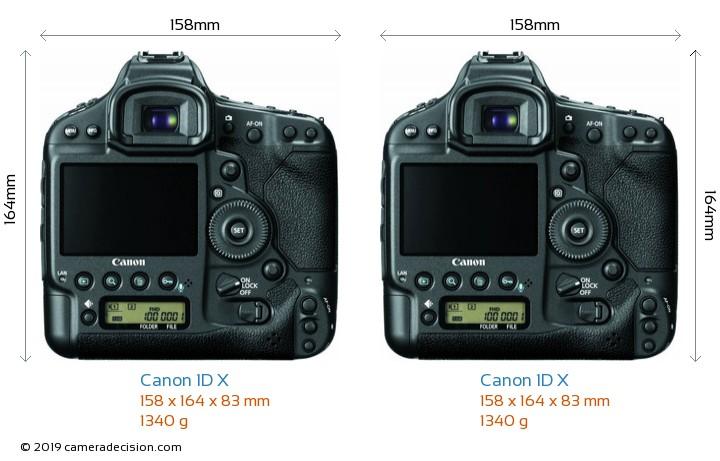 Canon 1D X vs Canon 1D X Camera Size Comparison - Back View