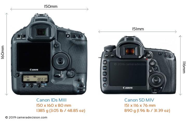 Canon 1Ds MIII vs Canon 5D MIV Camera Size Comparison - Back View