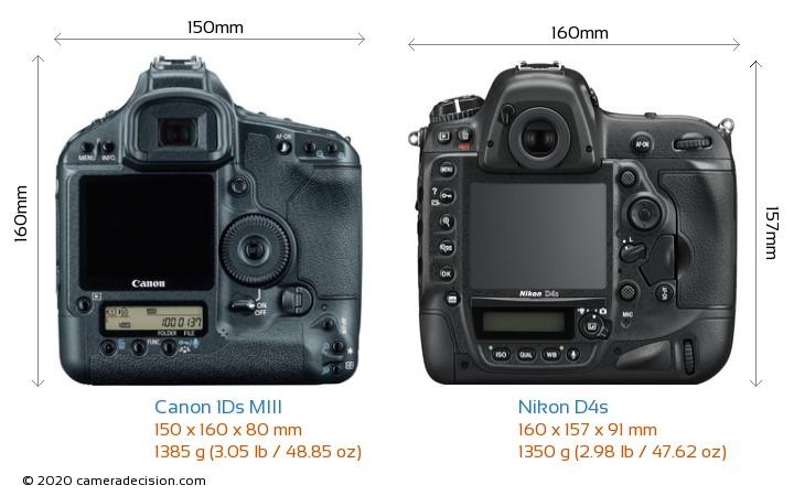 Canon 1Ds MIII vs Nikon D4s Camera Size Comparison - Back View