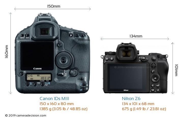 Canon 1Ds MIII vs Nikon Z6 Camera Size Comparison - Back View
