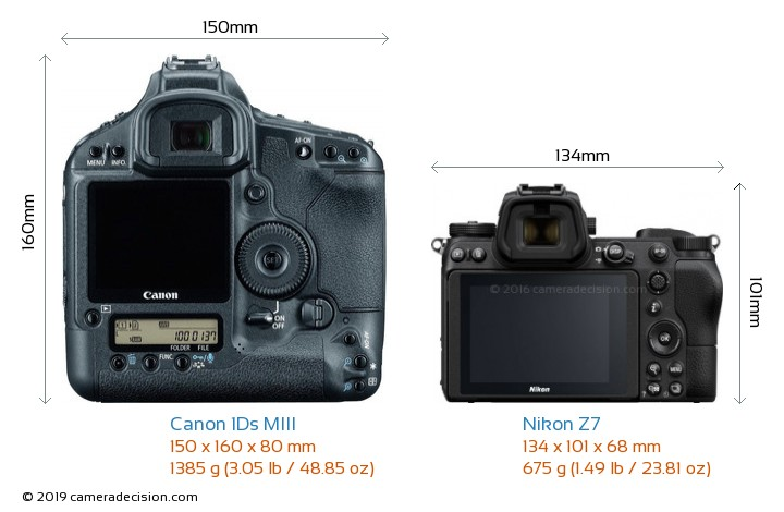 Canon 1Ds MIII vs Nikon Z7 Camera Size Comparison - Back View