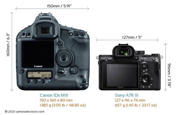 Canon 1Ds MIII vs Sony A7R III Camera Size Comparison - Back View