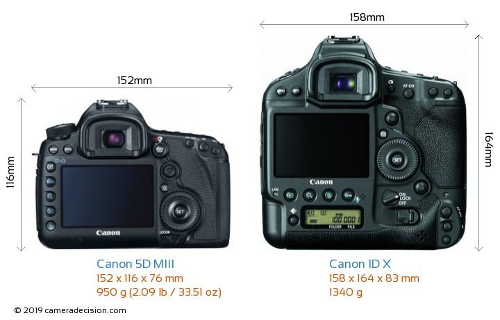 Canon 5D MIII vs Canon 1D X Camera Size Comparison - Back View