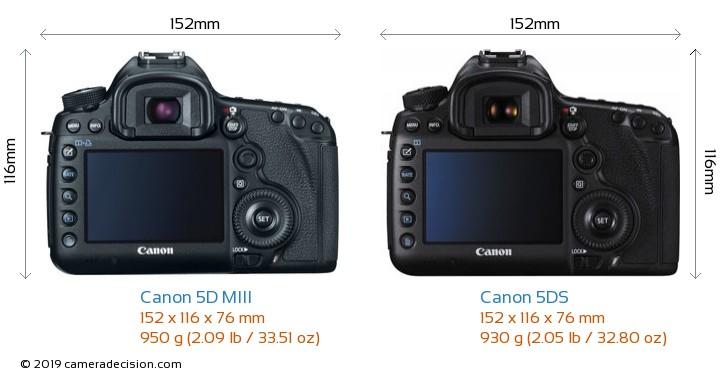 Canon 5D MIII vs Canon 5DS Camera Size Comparison - Back View