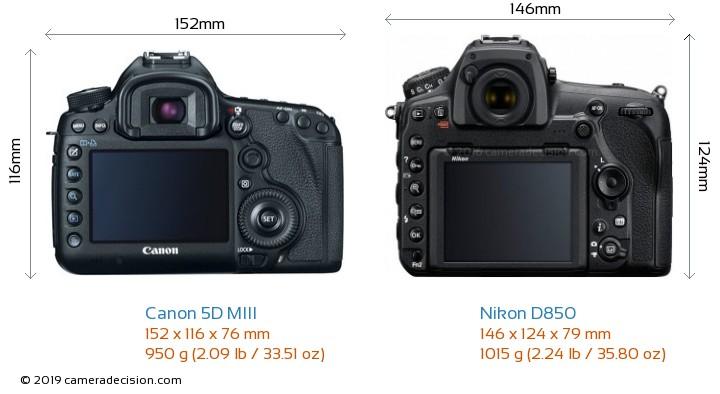 Canon 5D MIII vs Nikon D850 Camera Size Comparison - Back View