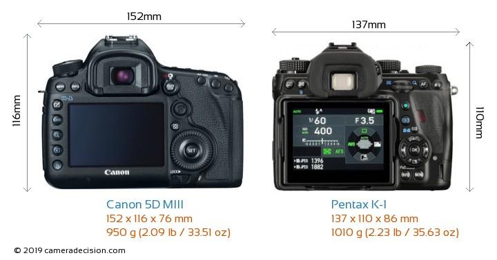 Canon 5D MIII vs Pentax K-1 Camera Size Comparison - Back View