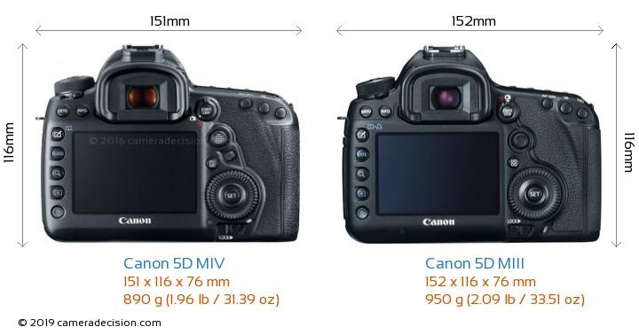 Canon 5D MIV vs Canon 5D MIII Camera Size Comparison - Back View