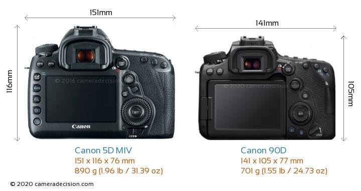 Canon 5D MIV vs Canon 90D Camera Size Comparison - Back View