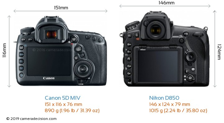Canon 5D MIV vs Nikon D850 Camera Size Comparison - Back View