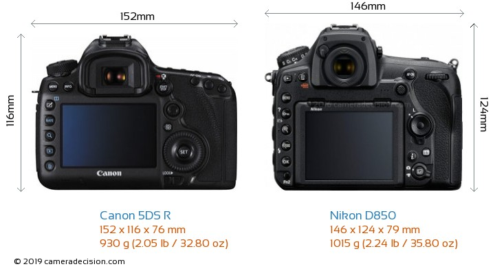 Canon 5DS R vs Nikon D850 Camera Size Comparison - Back View