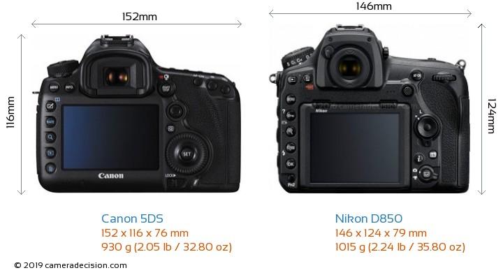 Canon 5DS vs Nikon D850 Camera Size Comparison - Back View