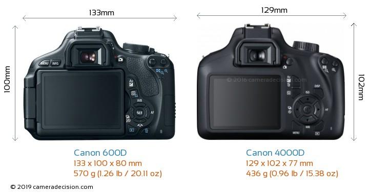 Canon 600D vs Canon 4000D Camera Size Comparison - Back View
