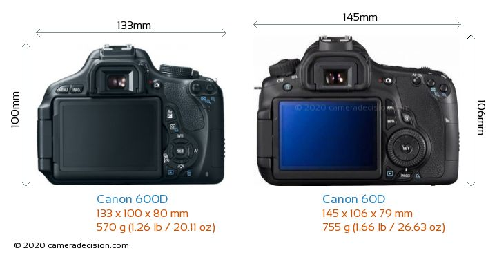Canon 600D vs Canon 60D Camera Size Comparison - Back View