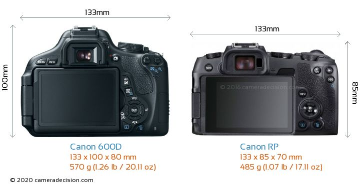 Canon 600D vs Canon RP Camera Size Comparison - Back View