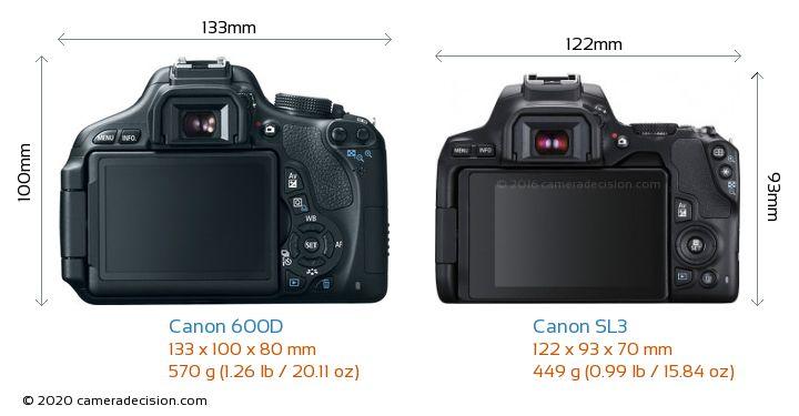 Canon 600D vs Canon SL3 Camera Size Comparison - Back View
