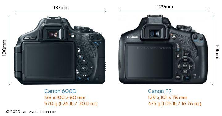 Canon 600D vs Canon T7 Camera Size Comparison - Back View