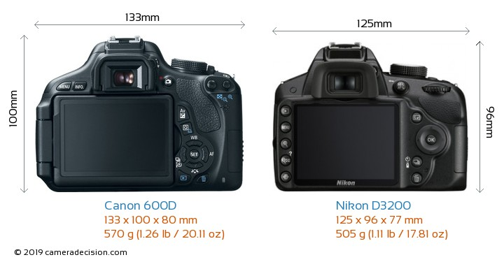 Canon 600D vs Nikon D3200 Camera Size Comparison - Back View