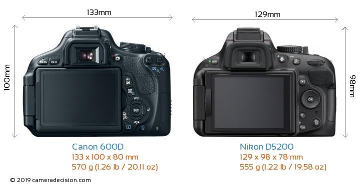 Canon 600D vs Nikon D5200 Camera Size Comparison - Back View