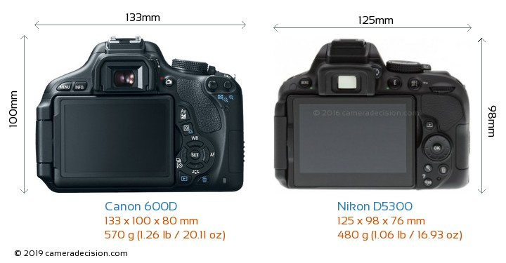 Canon 600D vs Nikon D5300 Camera Size Comparison - Back View