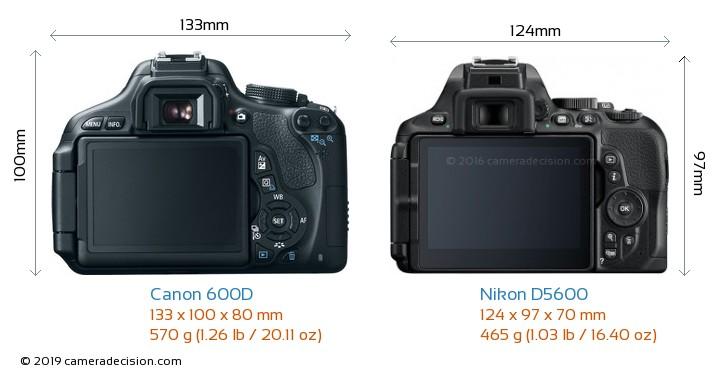 Canon 600D vs Nikon D5600 Camera Size Comparison - Back View
