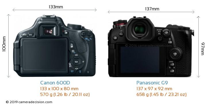 Canon 600D vs Panasonic G9 Camera Size Comparison - Back View