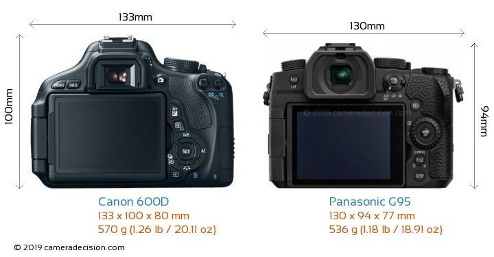 Canon 600D vs Panasonic G95 Camera Size Comparison - Back View